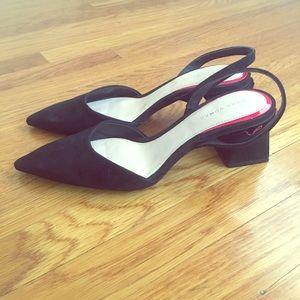 Zara Black & Red Suede Slingback Shoes